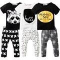 2 Pcs Bebê Recém-nascido Meninos Roupas Definir T-shirt de Manga Curta + Calças Compridas de Algodão Esporte Terno Roupas Dos Desenhos Animados Da Criança Meninos roupas