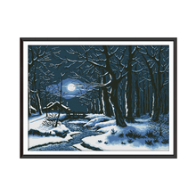 Joy Sunday Winter Night 11ct 14ct DMC Counted Cross Stitch Embroidery Landscape Picture Printed Canvas Paintings DIY needlework