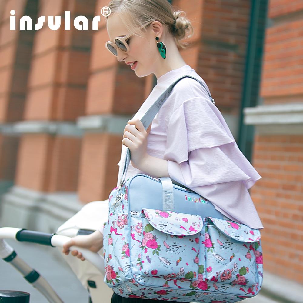 Luz moda Florido Carrinho De Saco De Fraldas Bolsa Grande Capacidade de saco de Fraldas Do Bebê Múmia Saco de Cuidados Antimicrobiana À Prova D' Água Mais Leve