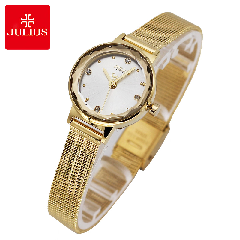 Simple Cutting Glass Women's Watch Japan Quartz Hours Fashion Dress Stainless Steel Bracelet Birthday Girl Gift Julius Box glass girl