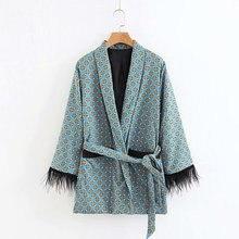 Womens jacket feather tassel decoration drape casual printing suit blazer women 2019 summer new womens clothing