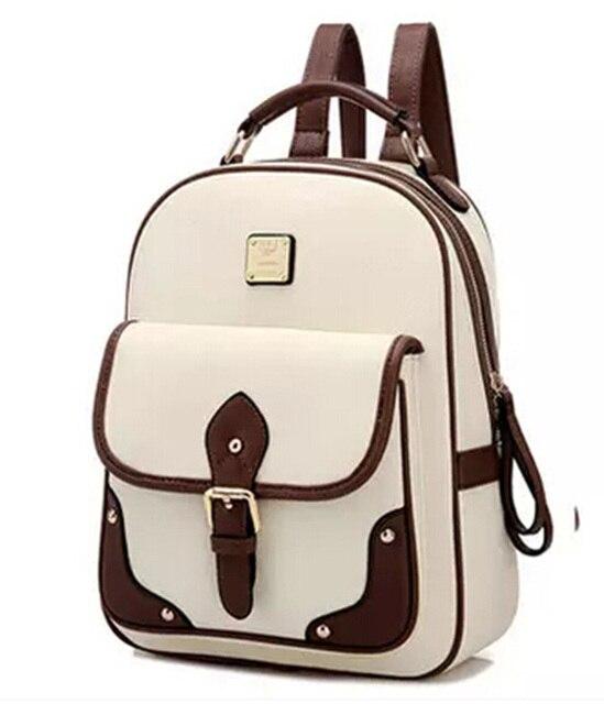 New 2015 High Quality Brand Patchwork Women Backpacks Mochila Women's PU Leather Backpack Travel bag School Backpack