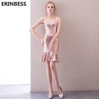 Short Prom Dresses 2019 Fashion Vestido De Festa Formal Party Gowns For Women Scoop Neck Rose Gold Sequin Prom Dress Gown