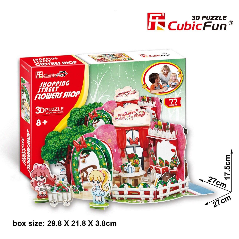Candice guo cubicfun gebäude modell spielzeug 3d puzzle papier haus p626h shopping blumenladen geburtstagsgeschenk weihnachtsgeschenk