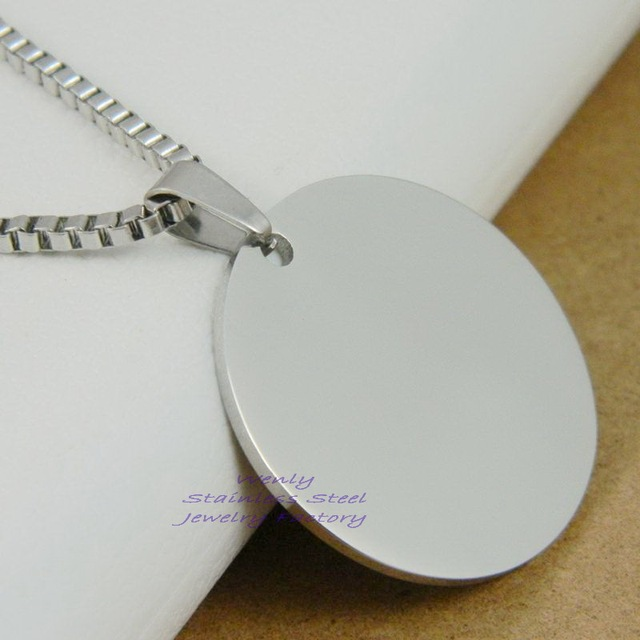 8d66d9a0218 Fashion Dog Tags Man Army Pendant Necklace Fashion Stainless Steel Round  Silver Dog Tag Men's Jewelry