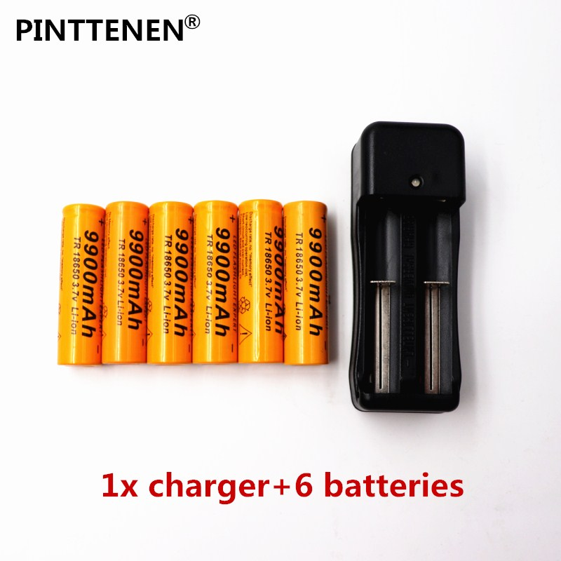 2018 3.7V 18650 Batteries 9900mAh Li-ion Rechar 9900mAh Li-ion Rechargeable Battery For Flashlight +EU Battery Charger ...