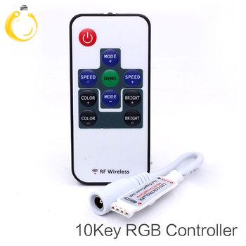 Kontroler LED RF RGB DC12V 10 klawiszy powłoka aluminiowa RF dotykowy kontroler RGB do taśmy led 5050 3528 rgb kinkiety tanie i dobre opinie MUFAVA rf wireless led controller rgb rf controller rgb 15M plastic 2years 144W led strip ROHS Remote Controll Frequency 433 92MHz