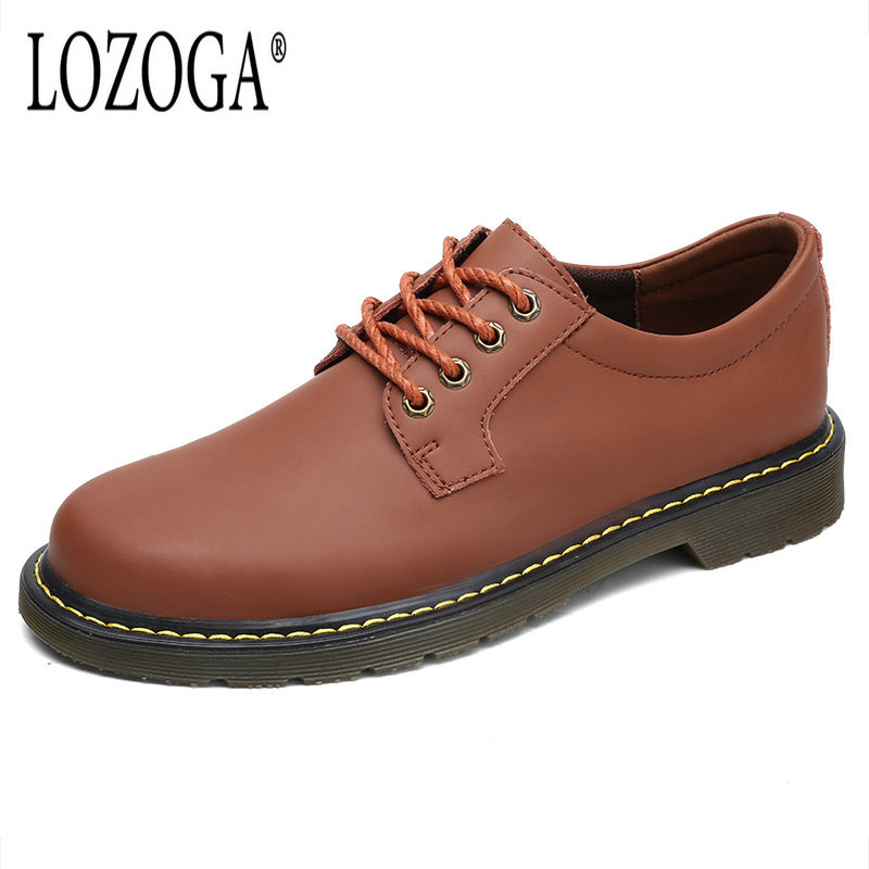 Lozoga men casual shoes new spring summer men flats fashion lace up male leather shoes oxfords Plus size 38-47 zapatillas hombre new authentic quality fashion casual men s shoes handmade genuine leather oxfords shoes for spring summer plus size 38 47