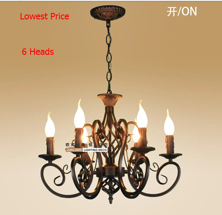 European Fashion Vintage Chandelier Ceiling Lamp 6 Candle Lights Lighting Fixtures Iron Black White Home E14 In Chandeliers From