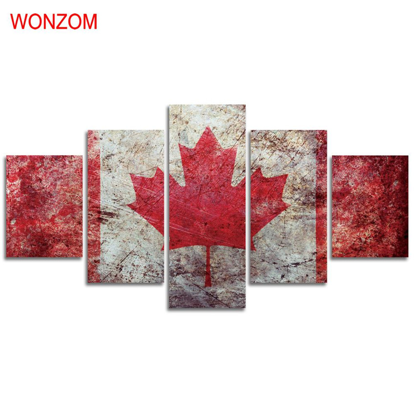 Home Decor Nation: 5Pcs Maple Leaf National Flag Canvas Arts Painting HD Wall