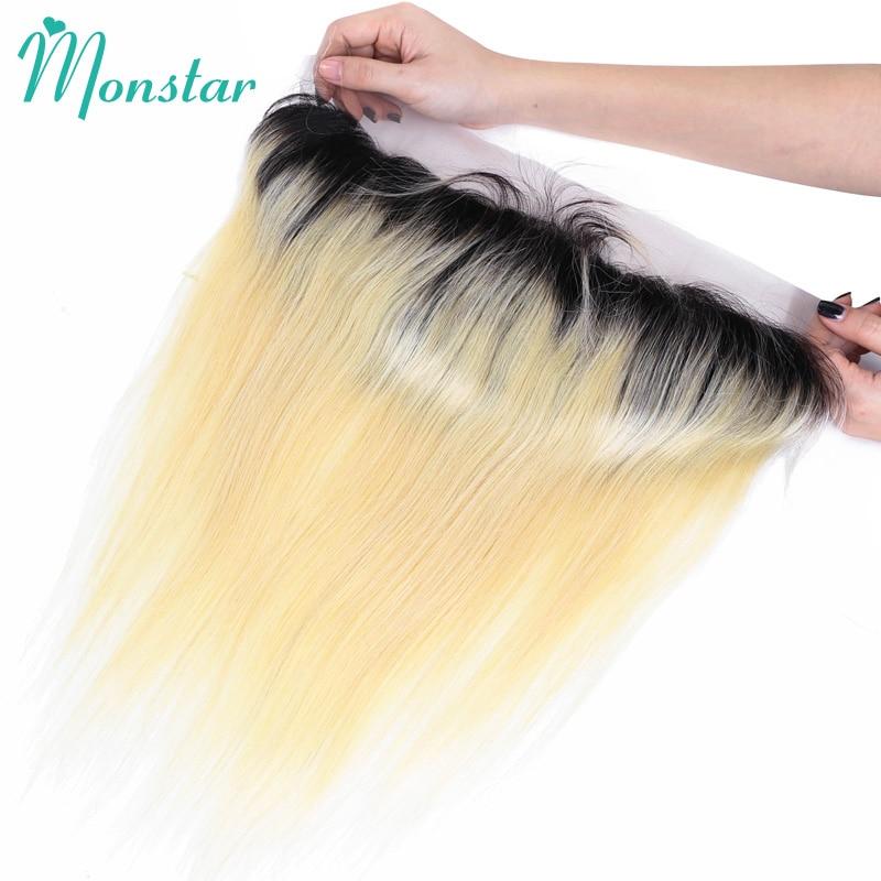 Monstar 13 4 Lace Frontal Closure Peruvian Silky Straight Hair Dark Roots Bleached Knots 1B 613