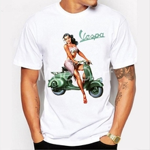 ФОТО vintage vespa glamour girl design t shirt 2018 funny vespa scooter print t-shirt summer short sleeve tees male hipster l17-79