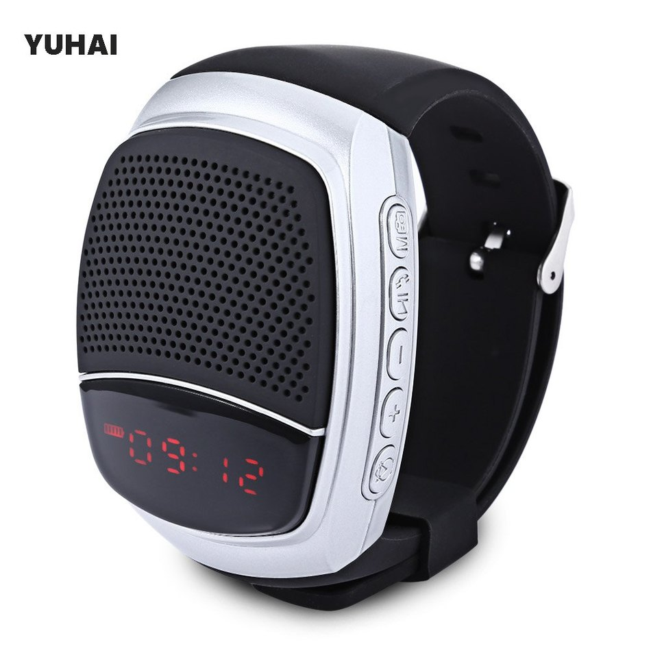 YUHAI B90 Bluetooth 4.0 Sport Music Watch Speaker Support TF Card Hands-free Call FM Radio Wristwatch Wireless Time Display