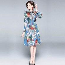 купить ARiby 2019 new spring fashion Women's dress Vintage Elegant Lace Bow long sleeves Stand collar printed A-Line Knee-Length dress по цене 1403.58 рублей