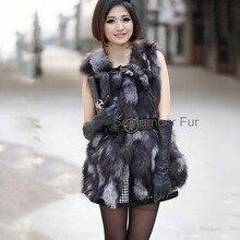 Genuine Natural Silver Fox Fur Waistcoat Vest Sleeveless real middle long sleeveless Coat Jacket  plus size free drop ship
