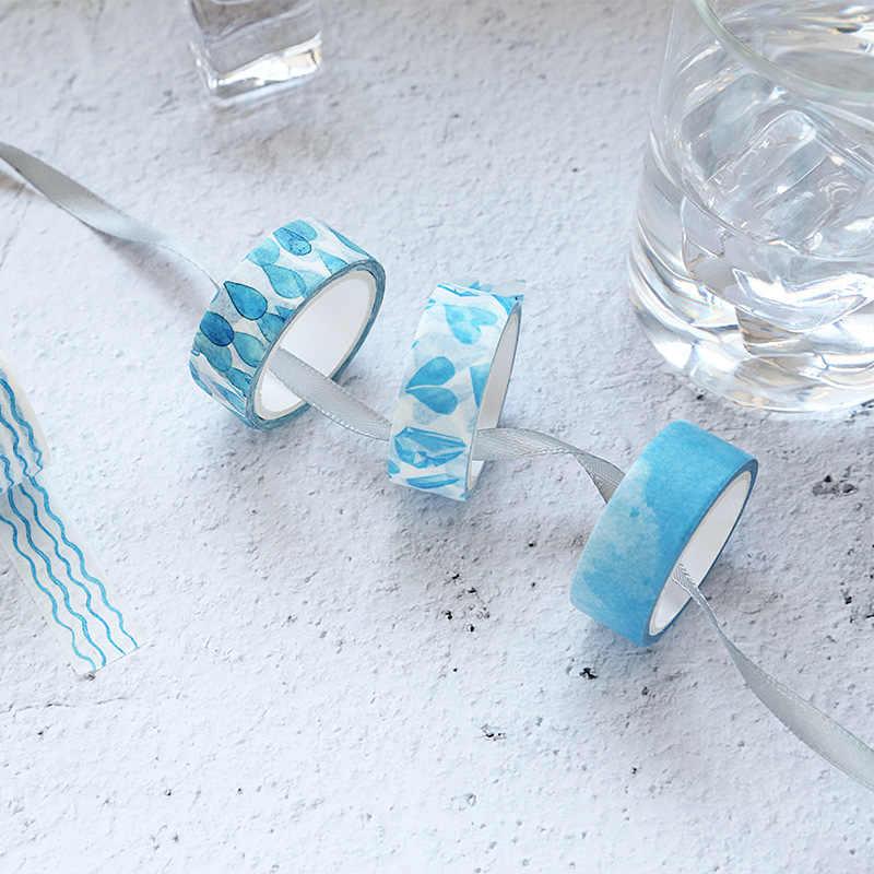 8 pcs orvalho cor Azul céu nuvem washi conjunto de fitas Decoração Do Vintage dot fitas de máscara Diário etiqueta ablum telefone Papelaria a6010