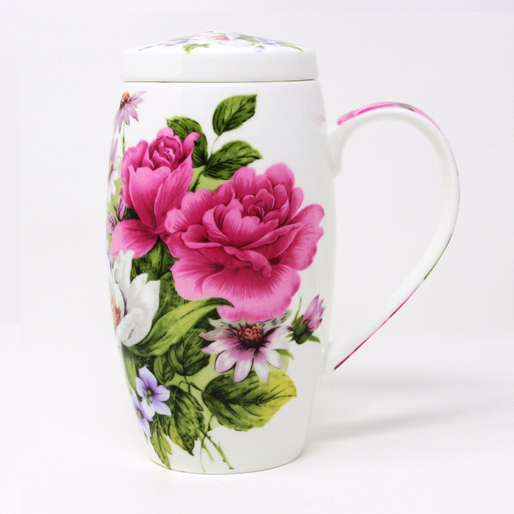 KEYTREND Bone China Ceramic Porcelain Cup Flower Printed 700ml Large Volume Breakfast Milk Mugs AECL108