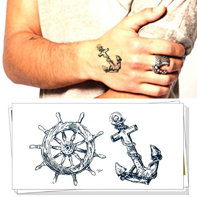 Tatuajes Pegatina pirata timón ancla tatuajes body art temporal tatuajes 10.5*6 cm