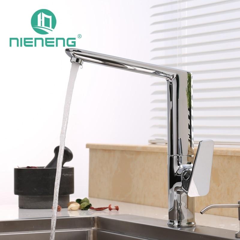 Nieneng New Design Kitchen Faucet Basin Sink Mixer Taps Fixtures Deck Mounted Single Swivel Spout Black