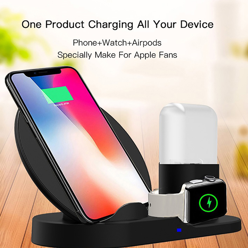 QI Fast Wireless Charger for Samsung S10 Plus S10e Huawei P30 iPhone X XS Max XR Charging Stand for Apple Watch 4 3 2 1 AirPodsQI Fast Wireless Charger for Samsung S10 Plus S10e Huawei P30 iPhone X XS Max XR Charging Stand for Apple Watch 4 3 2 1 AirPods