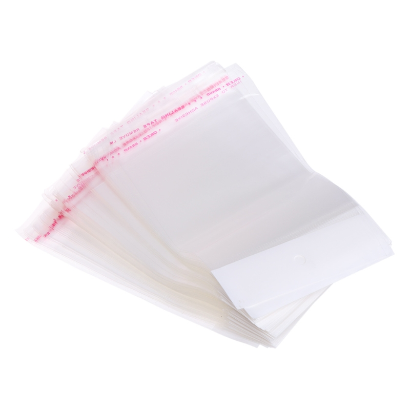 100Pcs/Set Plastic Packing Bag Transparent Self Adhesive OPP Jewelry Seal 9x13cm