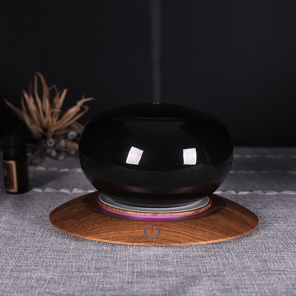 Bluetooth Speaker Ceramic Aroma Essential Oil Diffuser Waterless Auto Shut off 7 Color LED Ultrasonic Humidifier Black in Humidifiers from Home Appliances