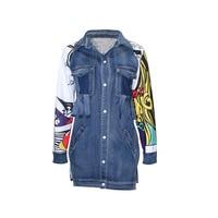 2018 New Back Graffiti Long Denim Jacket Women Autumn Windbreaker Coat Female Ripped Pocket Jeans Jackets Top Korean Clothes