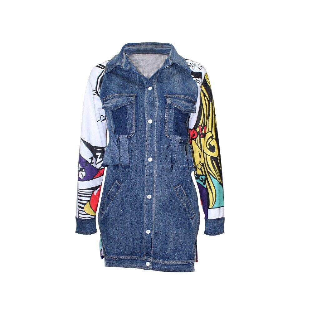 Back Graffiti Kot Ceket Long Denim Jacket Women Autumn Windbreaker Coat Female Ripped Pocket Jeans Jackets Top Korean Clothes