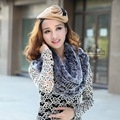 CDS126 New Round Long Thick Knitted Rabbit Fur Scarves Women In Winter Free Shipping Natural Infinity Scarf  Rex Ruffle Scarf