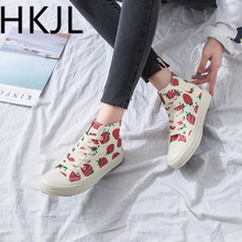 HKJL Spring 2019 Strawberry Canvas Shoes with High Uppers StudentsBoard and Candy-colored Womens A279