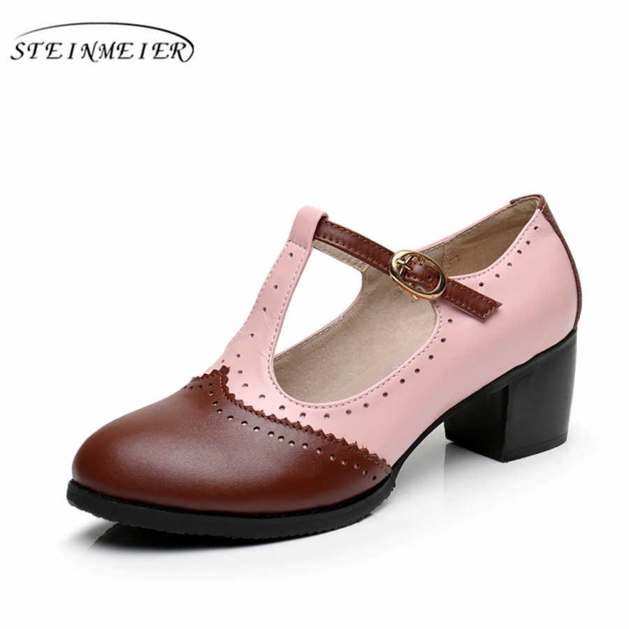 Echtes Leder sommer oxford sandalen große frau schuhe UNS 9,5 runde kappe handmade rosa schwarz braun 2019 oxfords schuhe für frauen