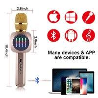 T Gtexnik H9 Wireless Bluetooth Karaoke Handheld Microphone USB KTV Player Bluetooth Mic Speaker Music Wireless Microphones With