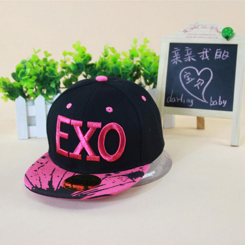 hot  EXO boys and girls stars cotton children baseball cap flat-brimmed hat visor cap fashion travel hip-hop cap snapback caps fashion rivets cotton polyester fiber men s flat top hat cap army green