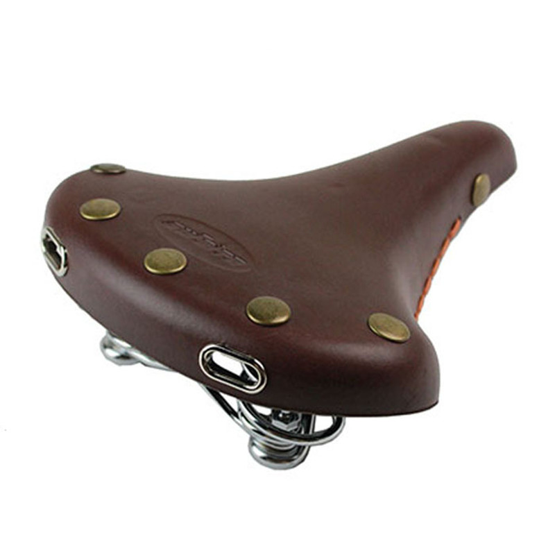 ФОТО Q316 Cycling saddle dead fly to mountain bike after old bike spring pure leather brown black Bicycle Saddle cushion