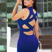 JIMMYHANK Elegant Women OL Work Sleeveless Bandage Bodycon Dress Backless Cross Hollow Out Pencil Dress