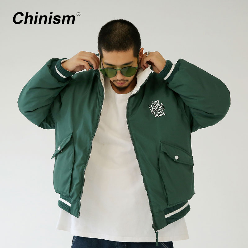 CHINISM Both Sides 2 Color Parkas Mens Letter Embroidery Slant Pocket Stand Collar Thick Jackets Man Stylish Brand Clothing фил коллинз phil collins both sides 2 lp