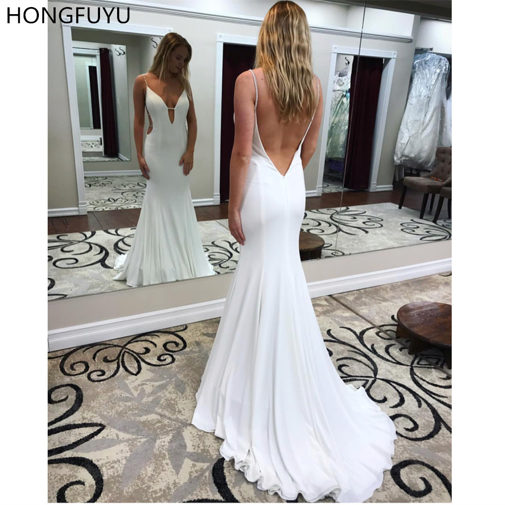 HONGFUYU Off White Jersey   Prom     Dress   Fitted Plunging V Neck Sexy Backless Evening Party Gown Long Formal   Dresses   robe de soiree