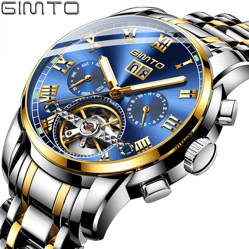 GIMTO Mens Business Watches Luxury Top Brand Automatic Mechanical Watch Men Stainless Steel Waterproof Relogio MasculinoGIMTO Mens Business Watches Luxury Top Brand Automatic Mechanical Watch Men Stainless Steel Waterproof Relogio Masculino