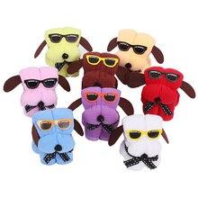Салфетка из микрофибры, 3 шт., полотенце с рисунком собаки из мультфильма, форма торта и солнцезащитные очки, полотенце для рук, свадебные подарки, Подарочное полотенце, Badhanddoeken