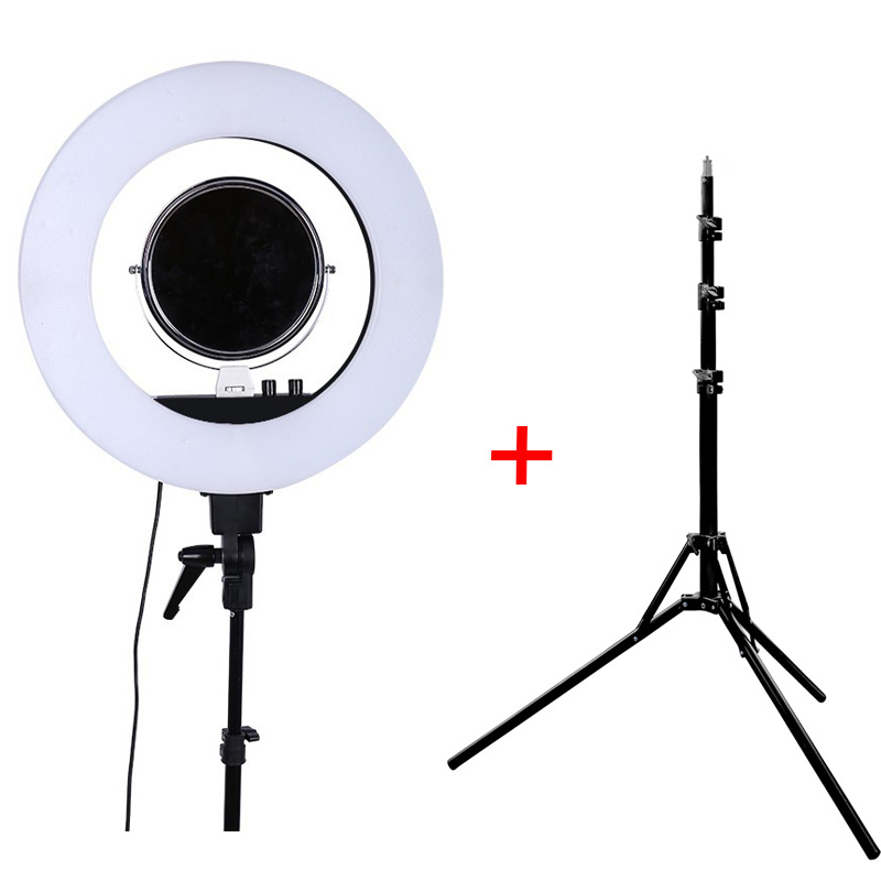 Fusitu CY-R50L 5500K Dimmable LED Adjustable Ring Light 480 led Camera Macro Ring Light for Makeup Photography/Video with Tripod