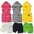 Promotion1set muchacha de los niños del verano de cinco estrellas con capucha + pantalón corto de la muchacha del muchacho del deporte del muchacho de dos piezas/set