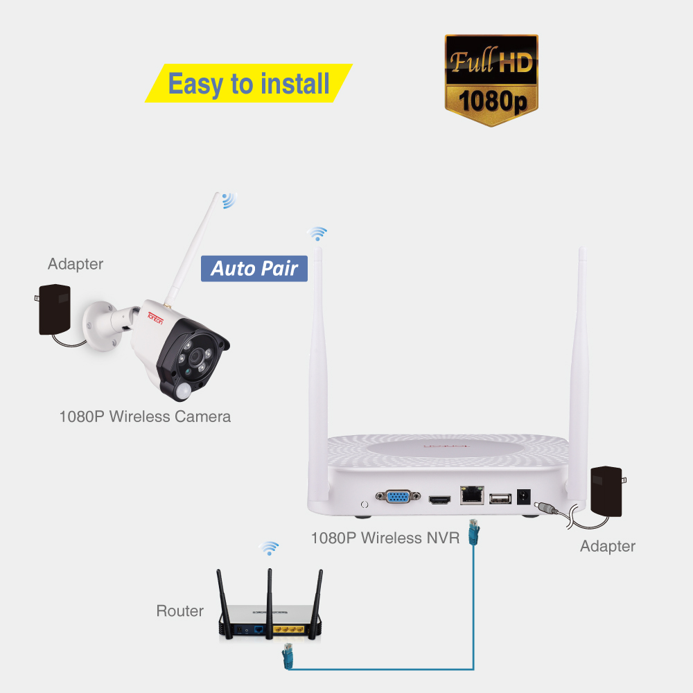 Tonton 8CH 1080P Audio Aufnahme 1TB HDD Sicherheit Wireless CCTV NVR Kits 2MP Wasserdichte WIFI Kameras Video Überwachung system