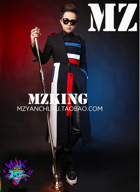 Novo Design dos homens de Personalidade Moda Moinho de Lã Multicolor Splicing Cavaleiro Blusão Casaco Trajes Palco Cantores! S-4XL
