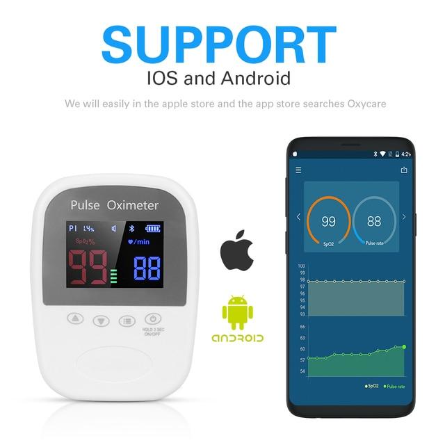 Handheld Bluetooth Finger Mobile APP Pulse Oximeter Automatic Memory 24 Hour Spo2 PR Monitor Adult Kids Neonate Oximetro 1