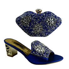 No 1281 Italian Shoes with Matching bags Blue African Shoes And Bags to match set