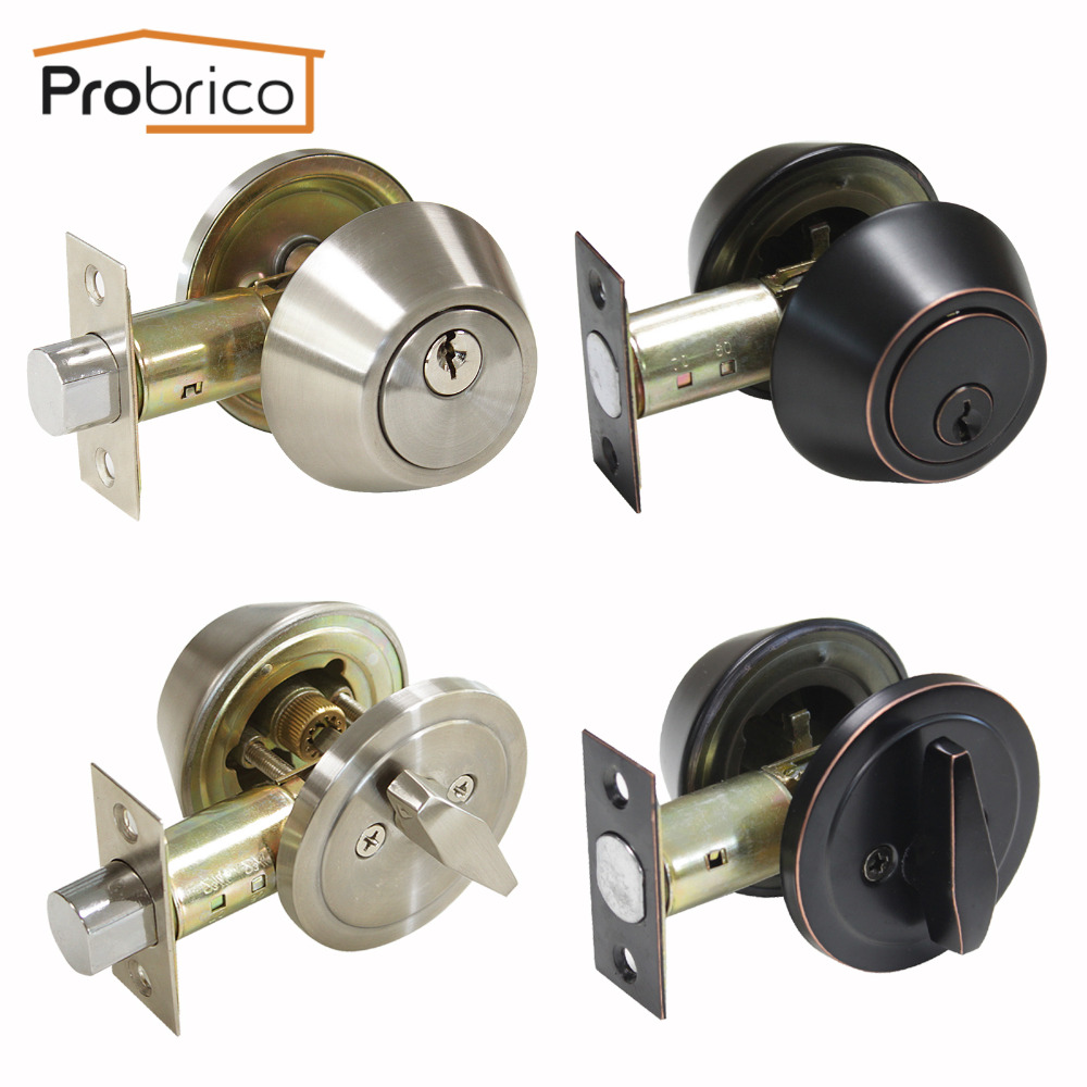 Probrico Deadbolt With Key And Button Nickel /Oil Rubbed Bronze Finished Single Cylinder Home Door Gate Atresia Mortice Haedware