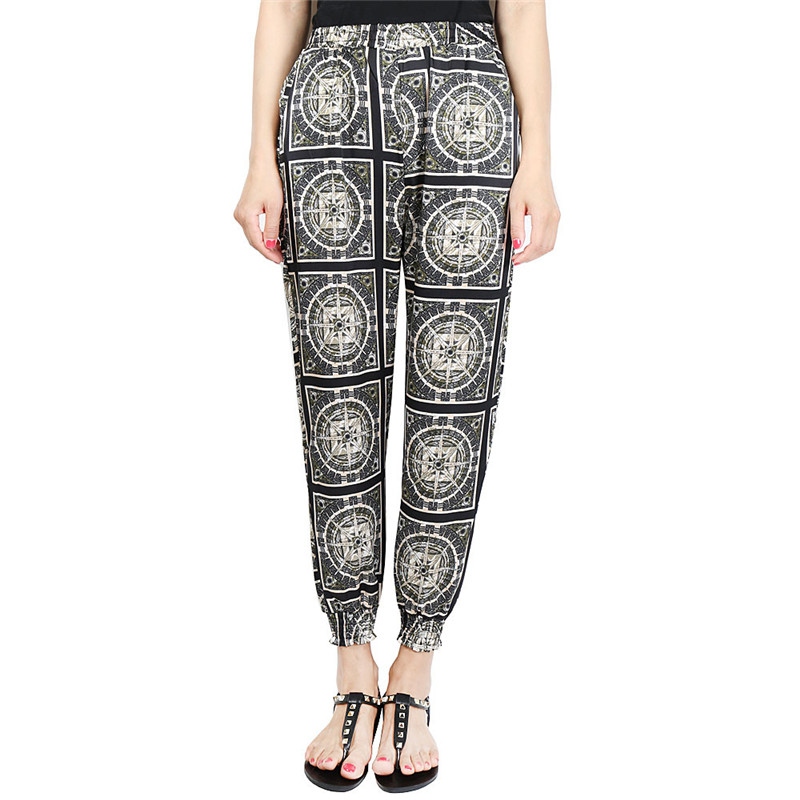 Loose Harem Pant High Waist Show Thin Printed Women's Wear Casual Ankle-Length Trousers Pockets 25