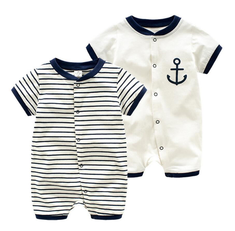 Navy blue color infany baby cotton rompers summer short sleeve cool bebe roupas body kit for newborn babies infant kids overalls