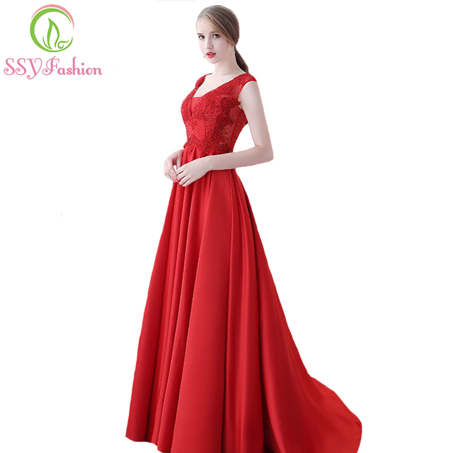 Ssyfashion New The Bride Married Banquet Gorgeous Red Satin Prom Dress V Neck Cover Back