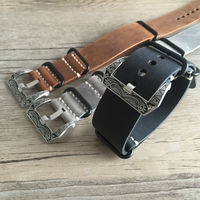 Handmade Retro Brown Gray Leather Strap G10 NATO 20mm 22mm 24mm 26mm mad horse skin NATO Men's Leather strap with carved buckle